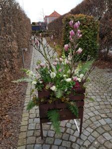 Frosttåliga vårblommor och blomsterarrangemang i rostiga eldkorgar